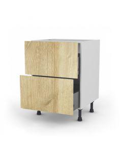 Meuble bas chêne golden 60 cm (Caisson + Façade 2 tiroirs)