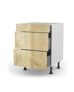 Meuble bas chêne golden 60 cm (Caisson + Façade 3 tiroirs)
