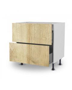 Meuble bas chêne golden 80 cm (Caisson + Façade 2 tiroirs)