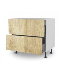 Meuble bas chêne golden 90 cm (Caisson + Façade 2 tiroirs)