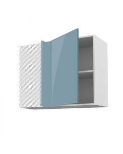 Meuble angle haut cirrus bleu 90 cm + façade 1 PORTE 50 cm