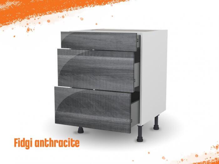 Meuble bas fidgi anthracite 80 cm (Caisson + Façade 3 tiroirs)
