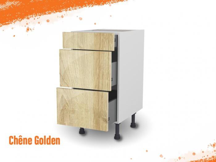 Meuble bas chêne golden 40 cm (Caisson + Façade 3 tiroirs)