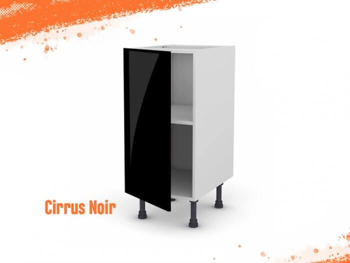 Meuble bas cirrus noir mat 30 cm + façade 1 PORTE