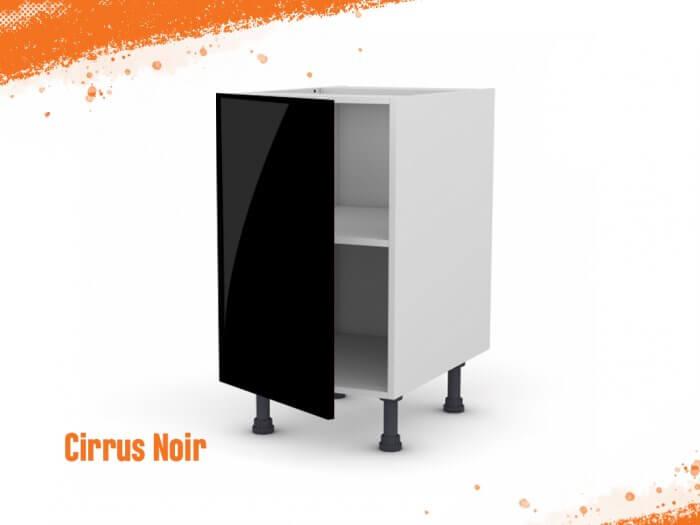 Meuble bas cirrus noir mat 50 cm + façade 1 PORTE