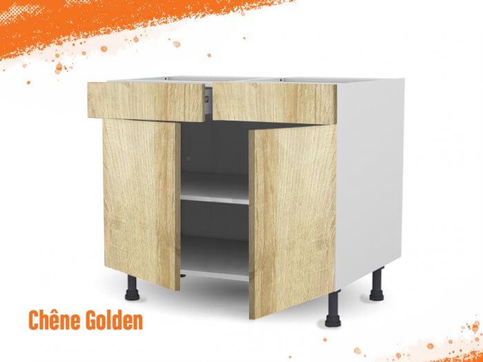 Meuble bas chêne golden 100 cm Deux Portes + Deux Tiroirs