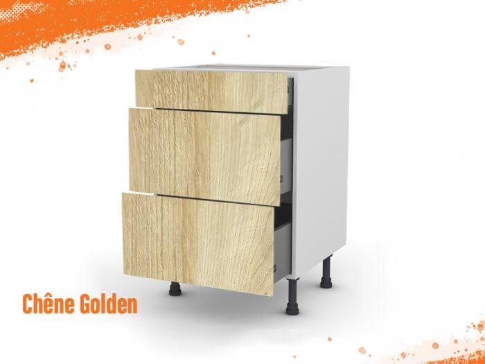 Meuble bas chêne golden 50 cm (Caisson + Façade 3 tiroirs)