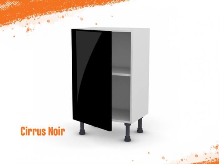 Meuble bas cirrus noir mat 50 cm (Faible profondeur) + façade 1 PORTE