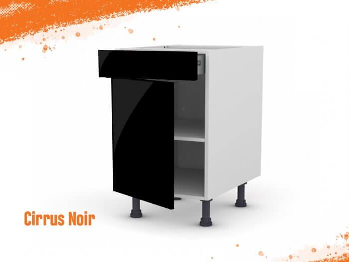Meuble bas cirrus noir mat 60 cm + façade 1 PORTE / 1 TIROIR