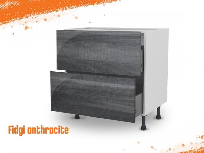 Meuble bas fidgi anthracite 80 cm (Caisson + Façade 2 tiroirs)