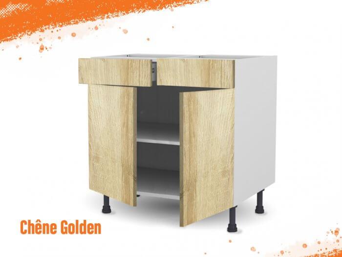Meuble bas chêne golden 80 cm Deux Portes + Deux Tiroirs