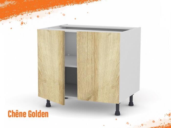 Meuble bas chêne golden 100 cm Deux Portes