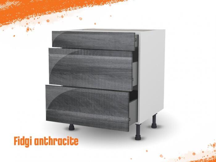 Meuble bas fidgi anthracite 90 cm (Caisson + Façade 3 tiroirs)