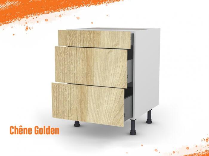 Meuble bas chêne golden 80 cm (Caisson + Façade 3 tiroirs)
