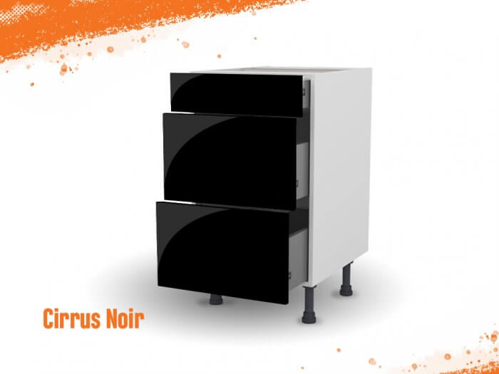 Meuble bas cirrus noir mat 50 cm (Caisson + Façade 3 tiroirs)