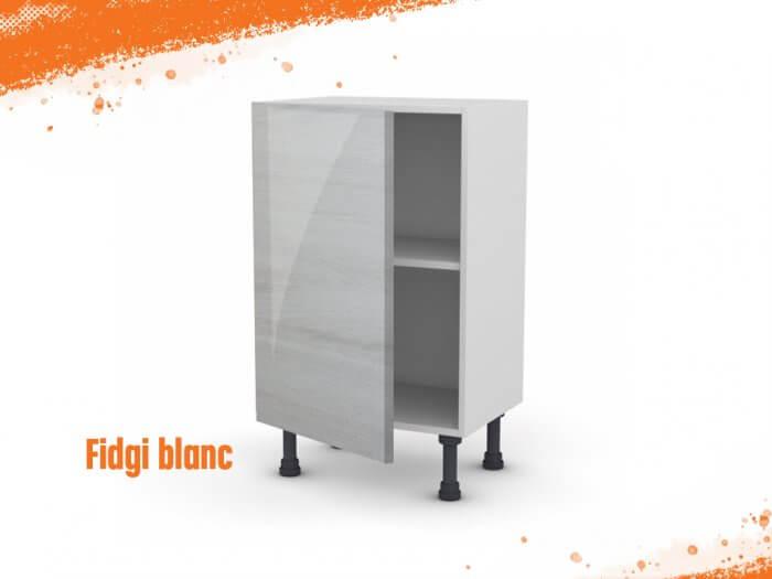 Meuble bas fidgi blanc 50 cm (Faible profondeur) + façade 1 PORTE