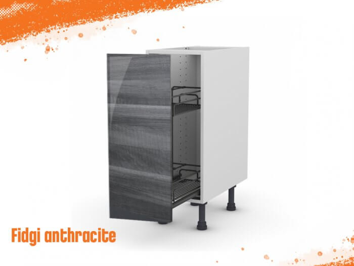 Meuble bas fidgi anthracite 30 cm + façade 1 PANIER COULISSANT