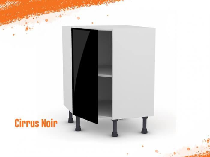 Meuble angle bas à 45° cirrus noir mat 90 cm + façade 1 PORTE