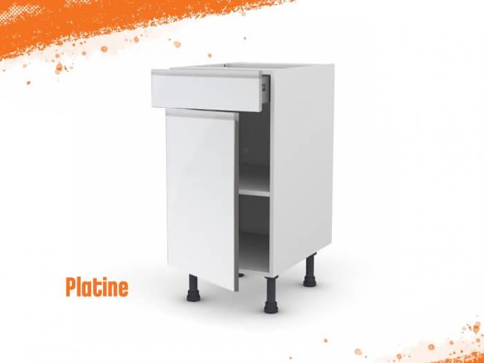 Meuble bas platine 40 cm + façade 1 PORTE / 1 TIROIR