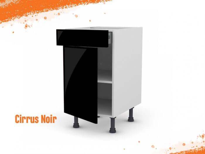 Meuble bas cirrus noir mat 50 cm + façade 1 PORTE / 1 TIROIR