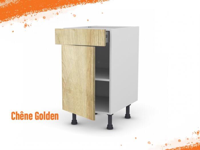 Meuble bas chêne golden 50 cm + façade 1 PORTE / 1 TIROIR