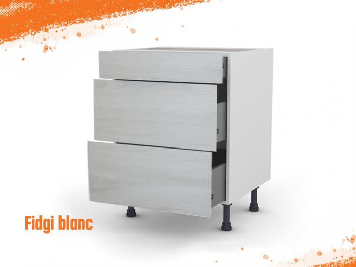 Meuble bas fidgi blanc 80 cm (Caisson + Façade 3 tiroirs)