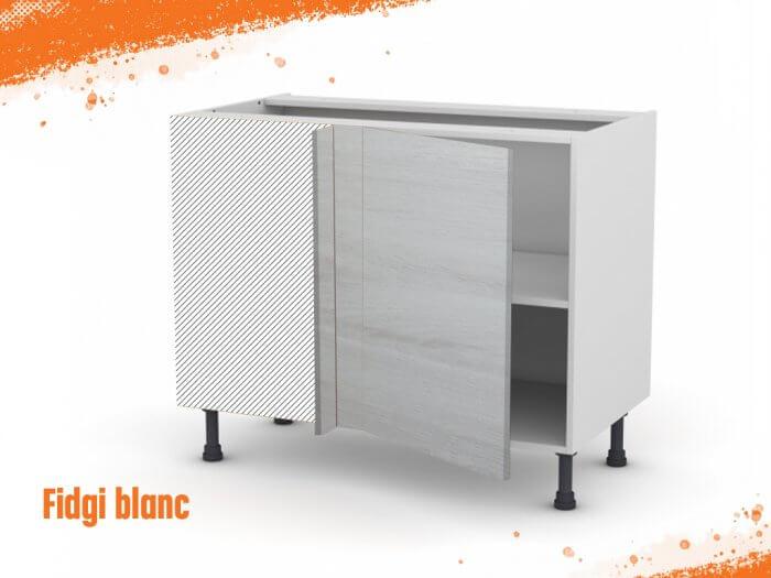 Meuble angle bas fidgi blanc 90 cm + façade 1 PORTE 40 cm (à droite)