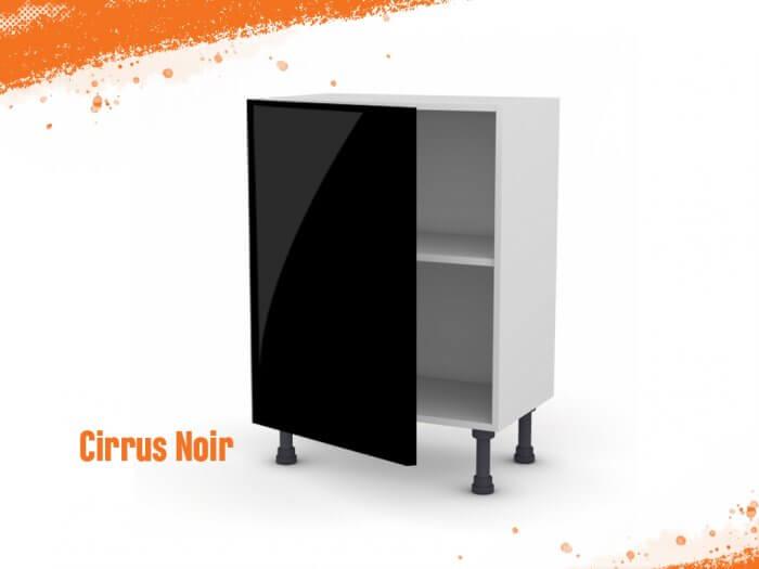 Meuble bas cirrus noir mat 60 cm (Faible profondeur) + façade 1 PORTE