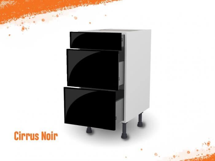 Meuble bas cirrus noir mat 40 cm (Caisson + Façade 3 tiroirs)