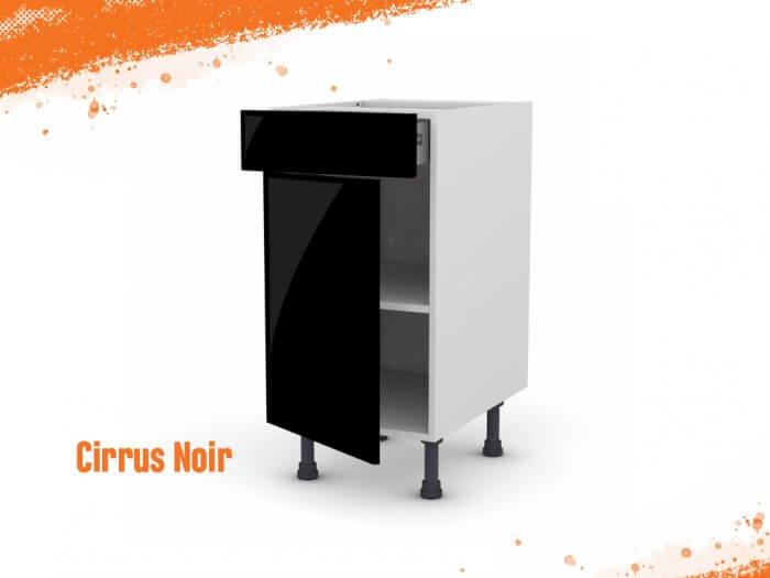 Meuble bas cirrus noir mat 40 cm + façade 1 PORTE / 1 TIROIR