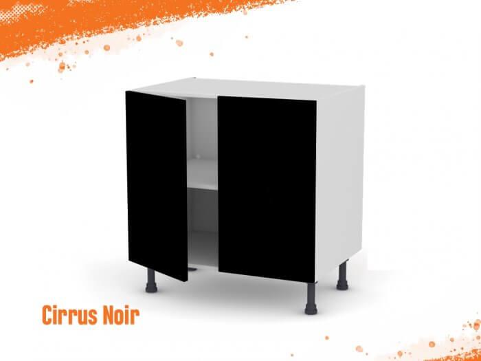 Meuble bas cirrus noir mat 80 cm Deux Portes