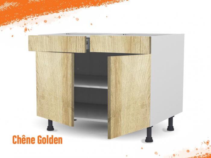 Meuble bas chêne golden 120 cm Deux Portes + Deux Tiroirs