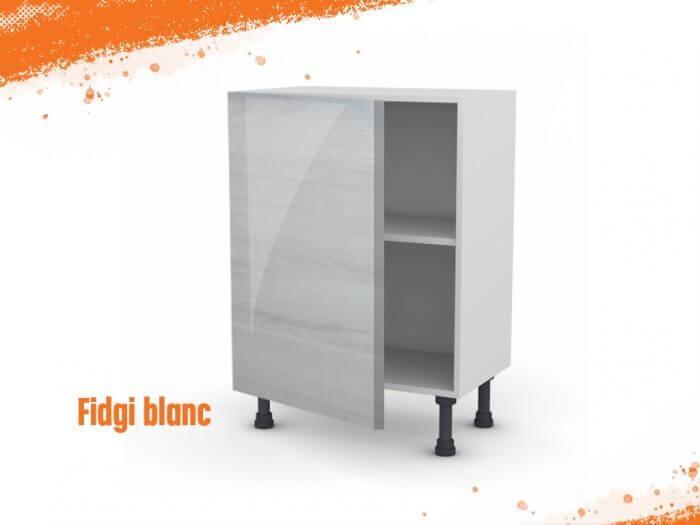 Meuble bas fidgi blanc 60 cm (Faible profondeur) + façade 1 PORTE
