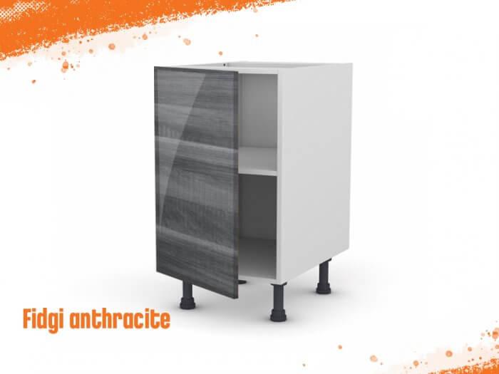 Meuble bas fidgi anthracite 50 cm + façade 1 PORTE