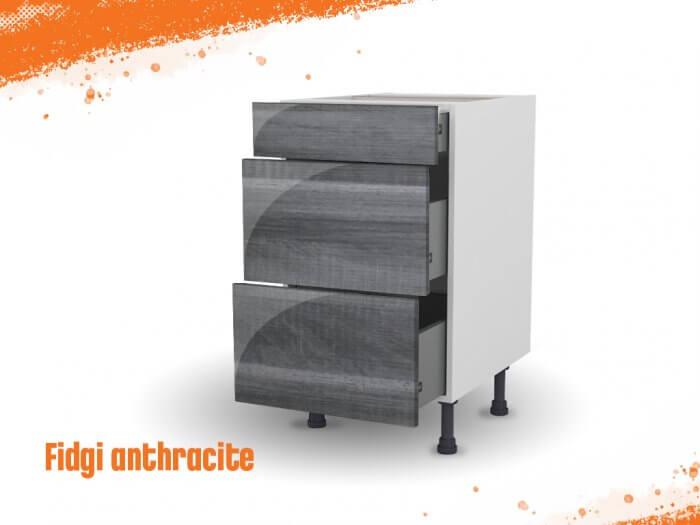Meuble bas fidgi anthracite 50 cm (Caisson + Façade 3 tiroirs)