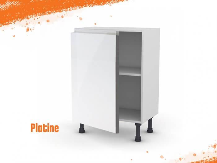 Meuble bas platine 60 cm (Faible profondeur) + façade 1 PORTE