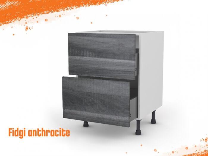 Meuble bas fidgi anthracite 60 cm (Caisson + Façade 2 tiroirs)