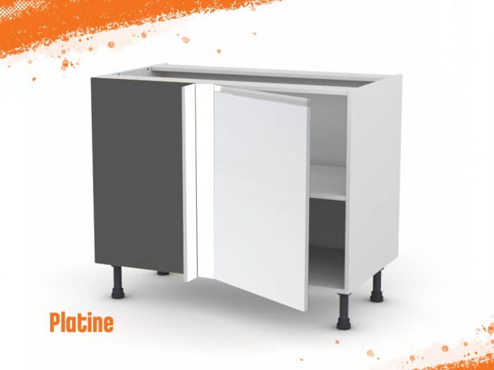 Meuble angle bas platine 90 cm + façade 1 PORTE 40 cm (à droite)