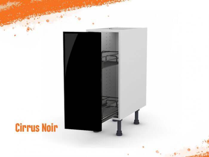 Meuble bas cirrus noir mat 30 cm + façade 1 PANIER COULISSANT