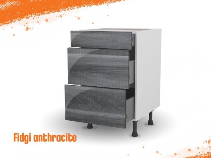 Meuble bas fidgi anthracite 60 cm (Caisson + Façade 3 tiroirs)