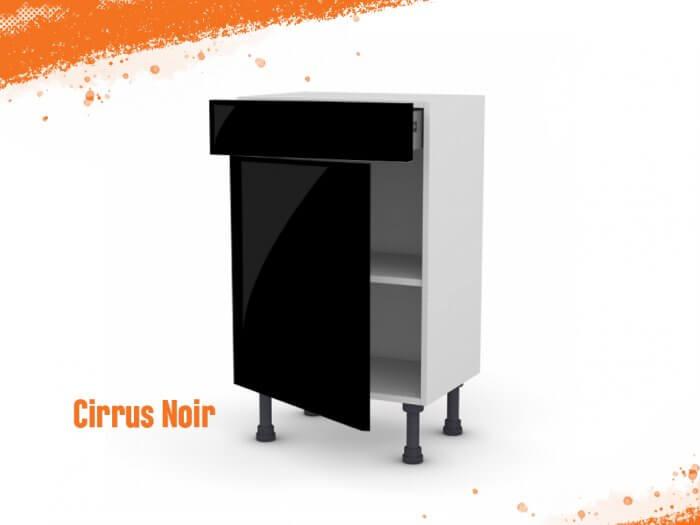 Meuble bas cirrus noir mat 50 cm (Faible profondeur) + façade 1 PORTE / 1 TIROIR