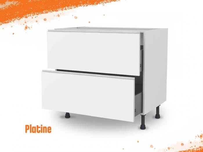 Meuble bas platine 90 cm (Caisson + Façade 2 tiroirs)