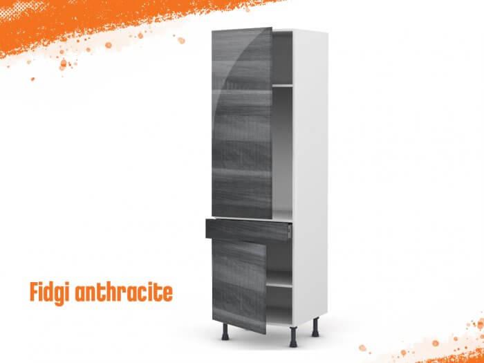Meuble Armoire fidgi anthracite 60 cm (grande porte + 1 porte/1 tiroir)