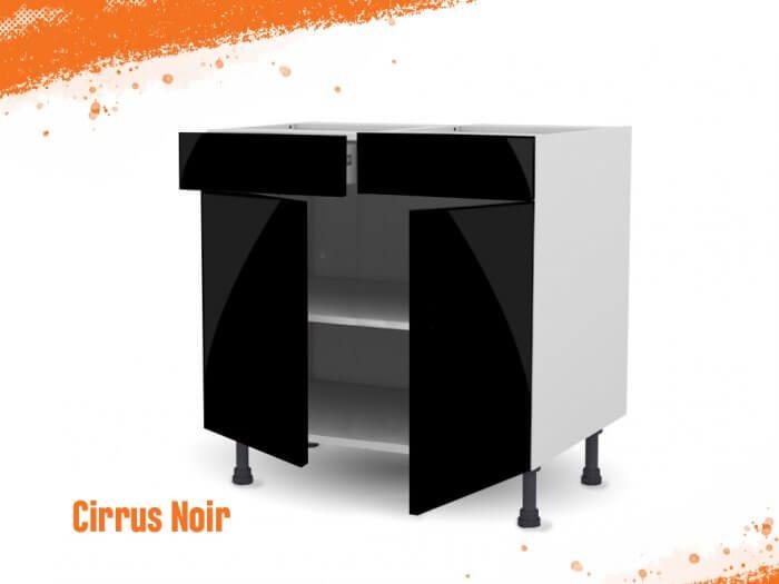Meuble bas cirrus noir mat 80 cm Deux Portes + Deux Tiroirs