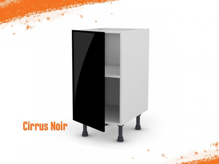 Meuble bas cirrus noir mat 40 cm + façade 1 PORTE