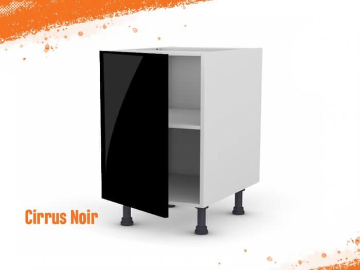 Meuble bas cirrus noir mat 60 cm + façade 1 PORTE