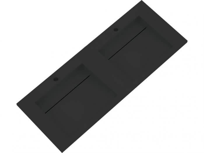 Vasque à encastrer Solid Surface noire 120 cm