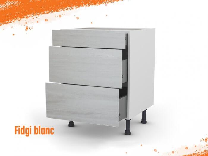 Meuble bas fidgi blanc 90 cm (Caisson + Façade 3 tiroirs)
