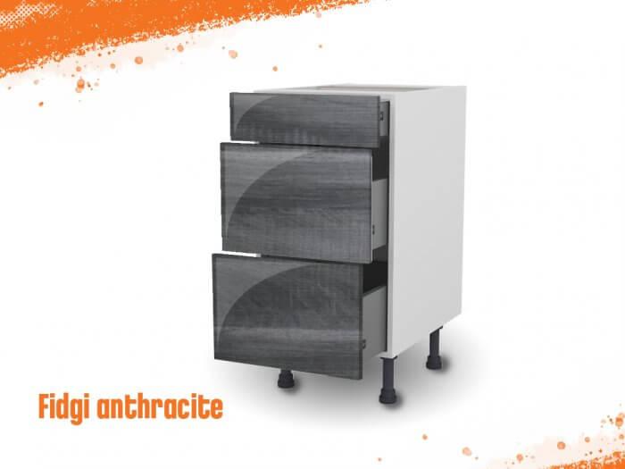 Meuble bas fidgi anthracite 40 cm (Caisson + Façade 3 tiroirs)