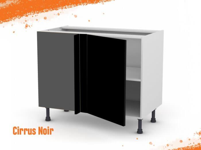 Meuble angle bas cirrus noir mat 90 cm + façade 1 PORTE 40 cm (à droite)